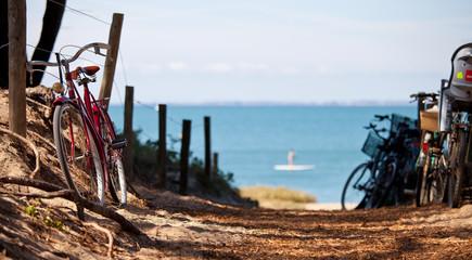 Vélo sur la côte atlantique, île de Noirmoutier en France
