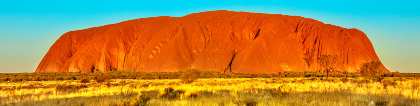 Banner panorama of red color of Uluru or Ayers Rock at sunset, the huge sandstone monolith in Uluru-Kata Tjuta National Park, icon of Australian outback or Red Centre. Australia, Northern Territory.