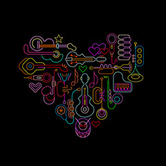 Autocollant pour porte Art abstrait Musical Heart neon design