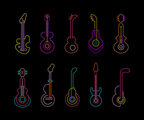 Canvas Prints Abstract Art Neon Guitars