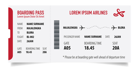 Boarding pass isolated template on white background. Concept of travel, journey or business trip. Isolated on white.