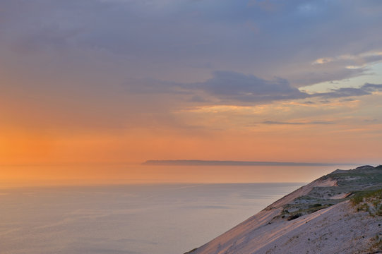 Landscape at twilight of sand dune and waters of Lake Michigan, Sleeping Bear Dunes National Lakeshore, Michigan, USA