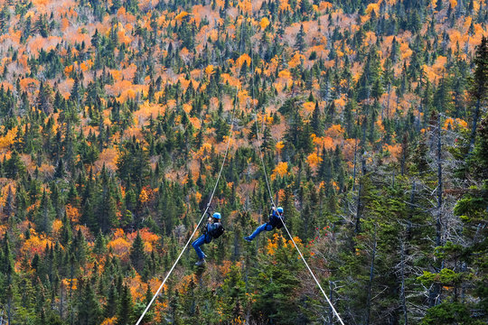 two people sliding down very long and fast zipline during autumn in Stowe, Vermont
