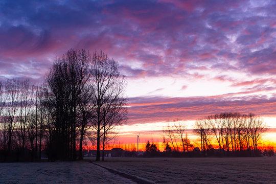 horizon with sunrise in winter