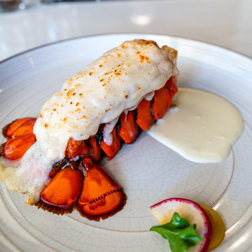 Steam lobster tail with cream sauce