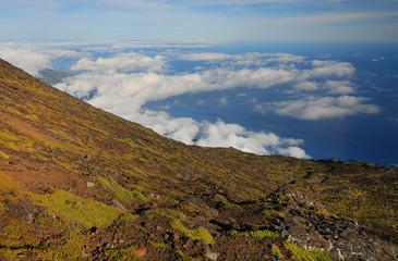 Wall Mural - Pico volcano landscape (2351m) on Pico Island, Azores, Portugal, Europe