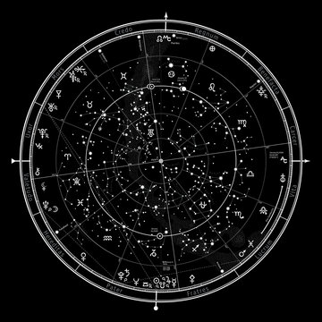 Astrological Celestial Map of The Northern Hemisphere. The General Global Universal Horoscope on January 1, 2020 (00:00 GMT). Detailed chart with symbols and signs of Zodiac, planets, asteroids & etc.