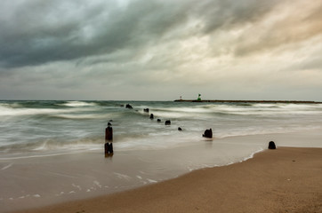 Sea landscape, waters of the Gdansk bay on a windy day.