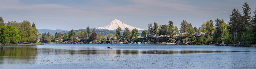 Blue Lake and Mt. Hood panorama Oregon.