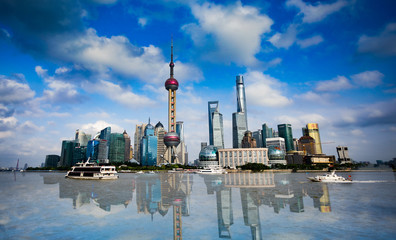 Shanghai Skyline financial district — the Jin Mao, the SWFC and the Shanghai Tower and the Pearl Tower.