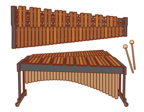 Marimba isolated on white.