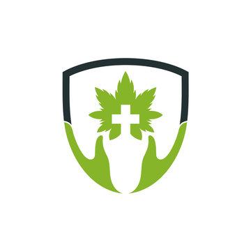 Shield cannabis medical logo, CBD cannabis marijuana leaf vector template, health consulting company logo, medical health protection logo