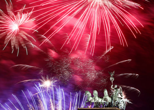 New Year celebrations at Brandenburg Gate in Berlin