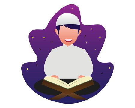 Muslim design illustrations reading the Quran
