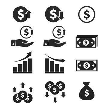 The value of money rising and decreasing, for mobile concepts and web designs Business, simple icon stable, symbols,rise and fall of the dollar rate,dollar exchange rate,flat sign,illustration vector