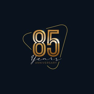 85 Years Anniversary badge with gold style Vector Illustration
