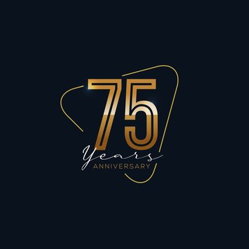 75 Years Anniversary badge with gold style Vector Illustration