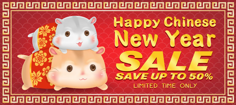 Happy chinese new year 2020 year of rat banner
