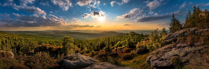 Photo sur Toile Bleu jean Sunset at Viewpoint on Ptaci kupy in Jizera Mountains, Liberec, Czech Republic