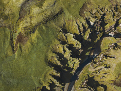aerial landscape of Fjadrargljufur canyon in Iceland, beautiful volcanic nature top down view