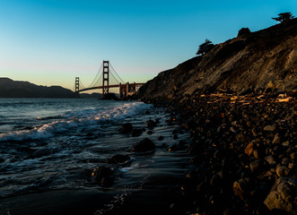 Picture of Golden gate bridge from the beach