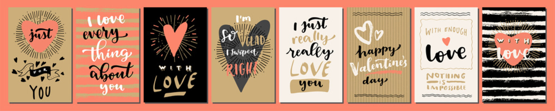 Valentine's Day Love hand lettered modern calligraphic cards