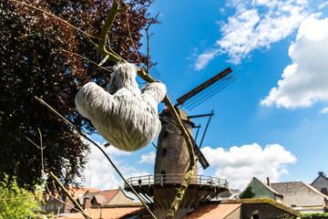 Faultier vor Kriemhildmühle in Xantener Park