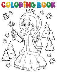 Deurstickers Voor kinderen Coloring book princess in winter clothes