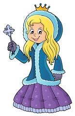 Deurstickers Voor kinderen Princess in winter clothes theme image 1