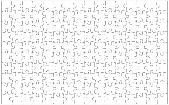 144 jigsaw pieces template. 16 x 9 puzzle pieces connected together.