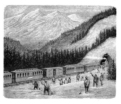 Construction of the Central Pacific railroad in Sierra Nevada completed by Chinese immigrate workers, circa 1870