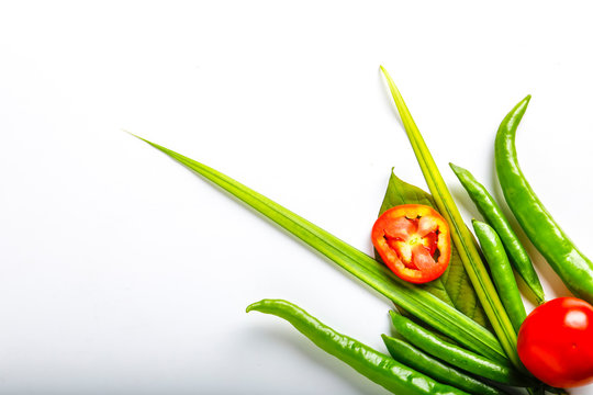 Raw mix vegetable on white background