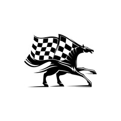 Racing sport mascot isolated horse and checkered flag. Vector equestrian races, monochrome mustang stallion