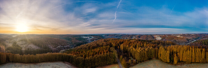 Panoramic view of Bergisches Land, Germany. Drone photography.