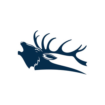 Roaring deer isolated black silhouette of red elk stag. Vector reindeer buck, head with antlers