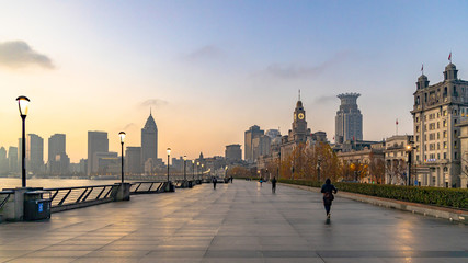 Shanghai at morning  The Bund, The Bund in Shanghai is a famous waterfront area in central...