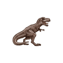 T-rex dinosaur isolated prehistoric animal sketch. Vector tyrannosaurus, raptor triceratops wildlife dino