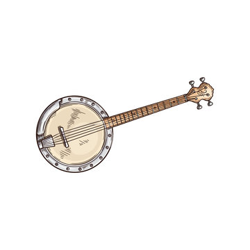 American banjo isolated retro musical instrument. Vector four string banjo guitar, chordal accompaniment