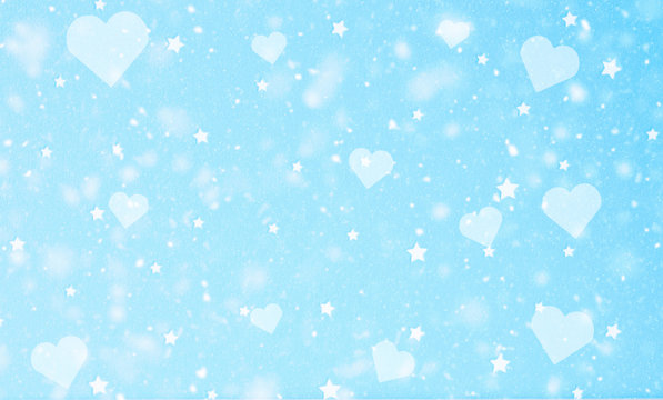 light blue snowfall, love heart and star background