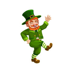 Happy dancing leprechaun isolated cartoon character. Vector bearded celtic gnome in green suit