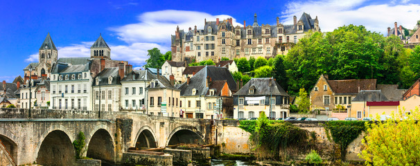 Travel and landmarks of France- pictorial medieval town Saint-Aignan, Loire valley region