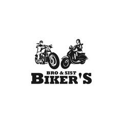 brother and sister biker silhouette logo