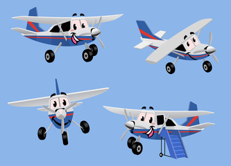 set of small turbo propelled airplane in cartoon character