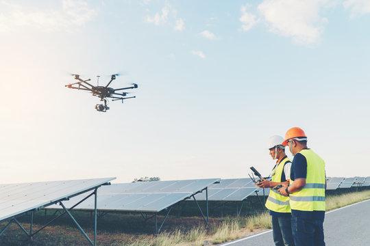 Inspector engineering concept; Engineer inspect solar panel  at solar power plant