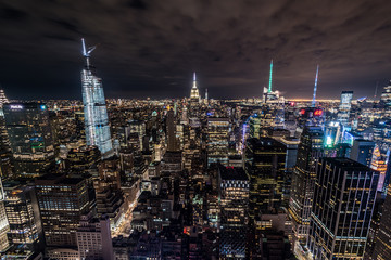Manhattan skyline lights at night taken from Rockefeller center roof, Manhattan, New York, USA