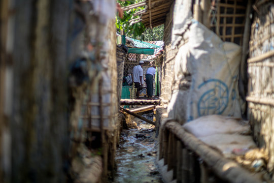 sewage system in rohingya refugee camp in ukhia bangladesh
