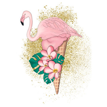 Flamingo On Gold And Flowers Isolated On A White Background Hand Drawn Illustration