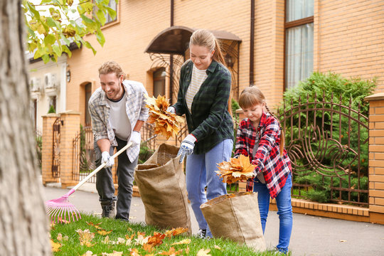 Family cleaning up autumn leaves outdoors