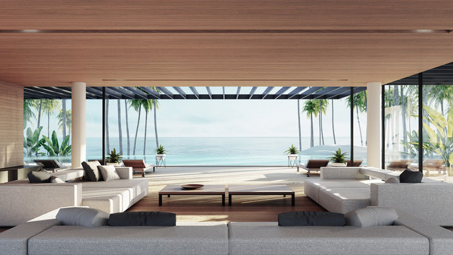 Beach Tropical living & Sea view  for Vacation and Summer / interior 3d rendering