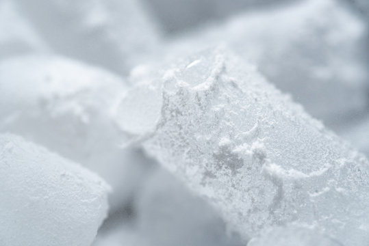 Close-up shot of dry ice cubes